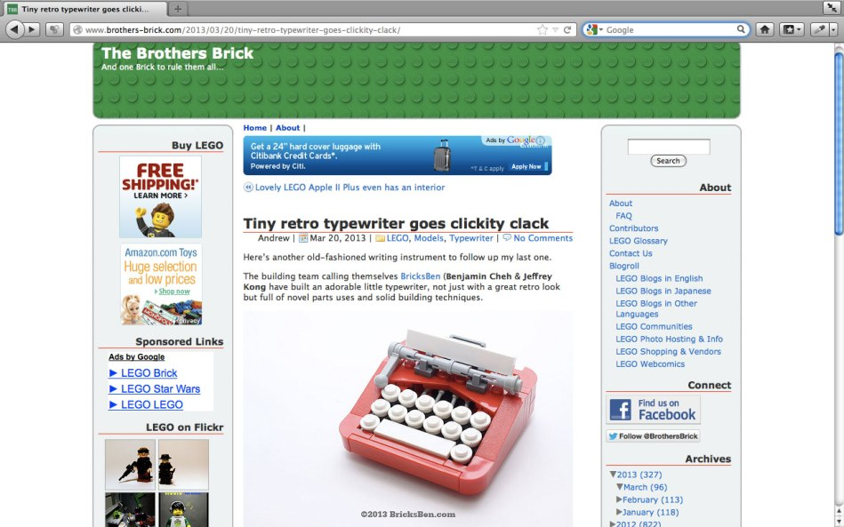 Tiny retro typewriter goes clickity clack | The Brothers Brick | LEGO Blog - 1